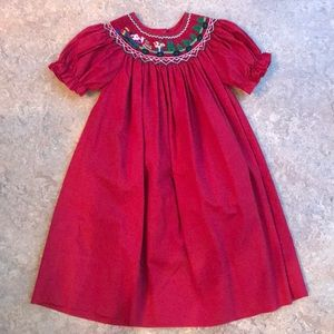 Rosalina 3T Red Smocked Christmas Dress